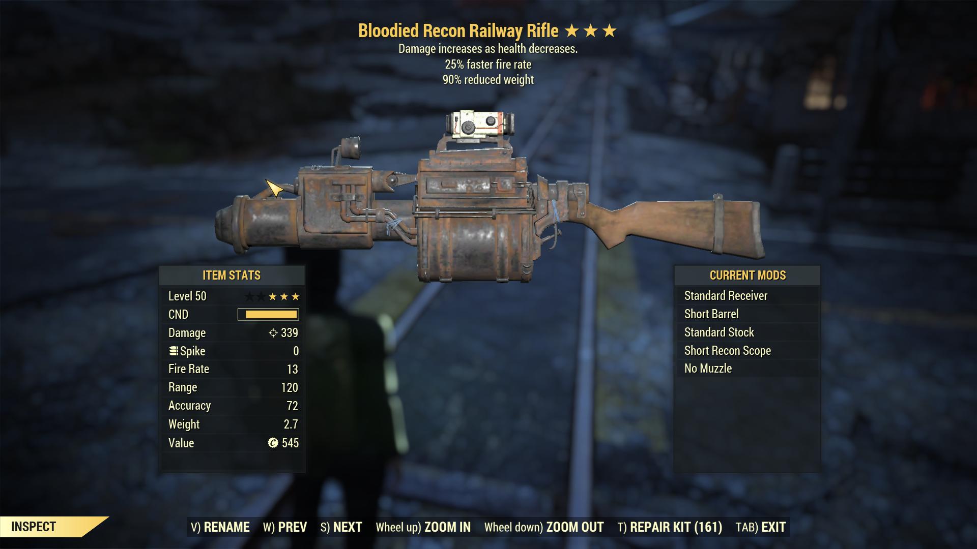 [3 Stars] Bloodied + 25%  ffr - 90% weight Railway rifle