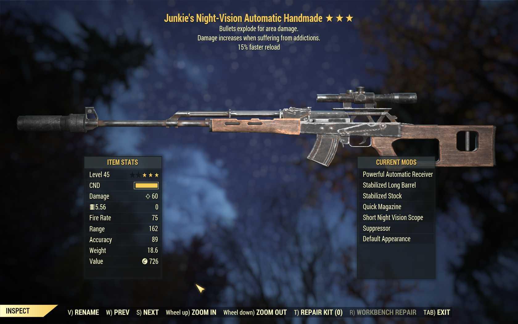 Junkie's Explosive Handmade (15% faster reload)