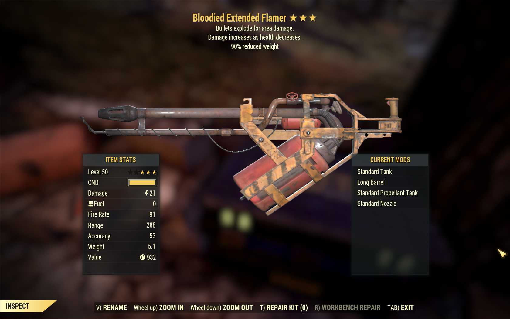 Bloodied Explosive Flamer (90% reduced weight)