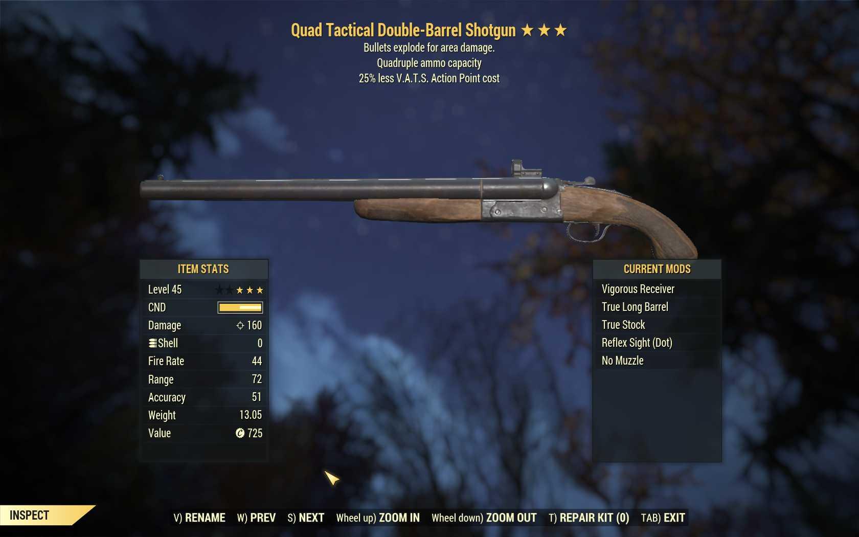 Quad Explosive Double-Barrel Shotgun (25% less VATS AP cost)