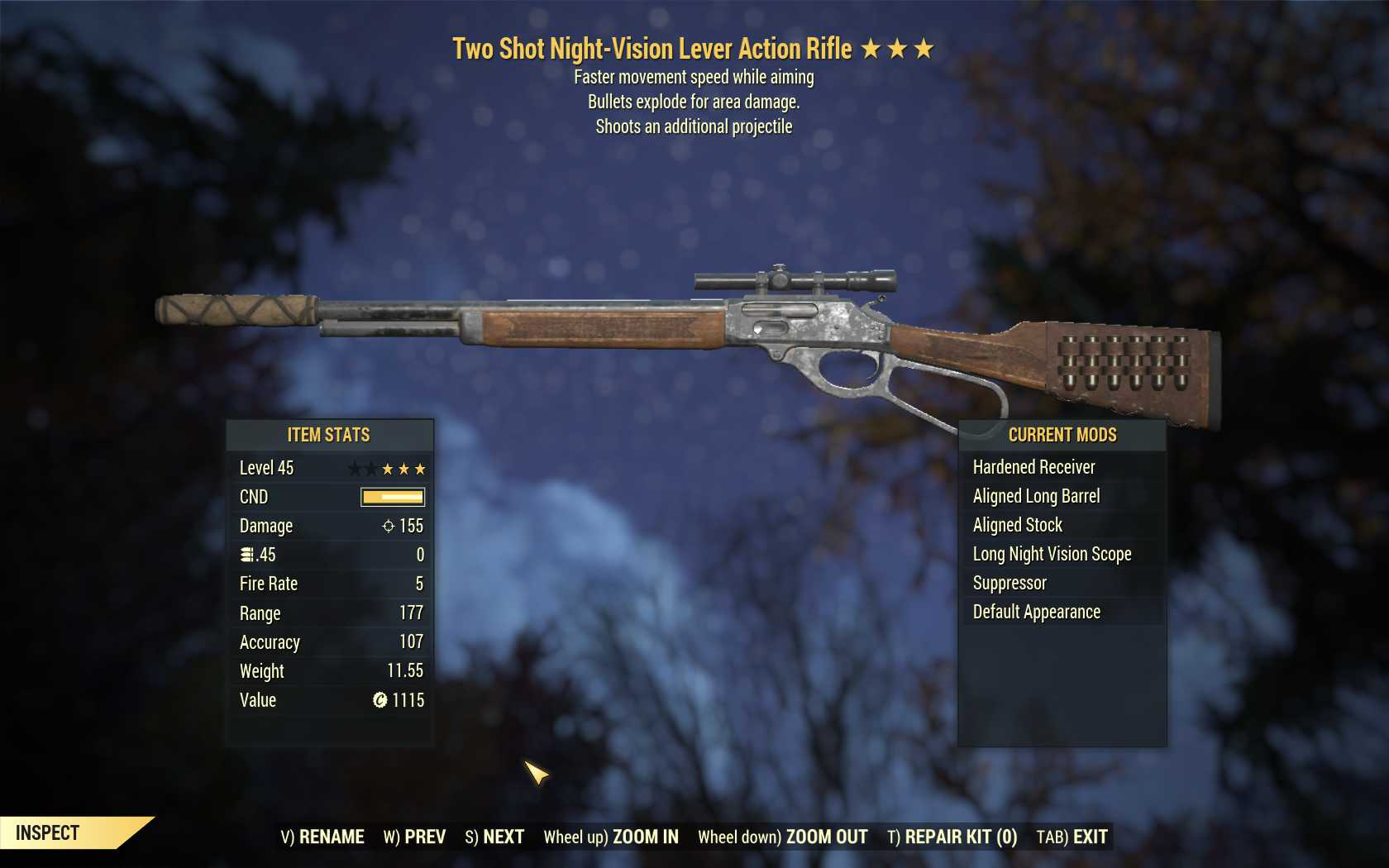 Two Shot Explosive Lever Action Rifle (faster move speed WA)