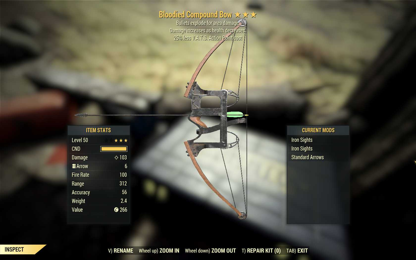 Bloodied Explosive Compound Bow (25% less VATS AP cost) [Wastelanders DLC]