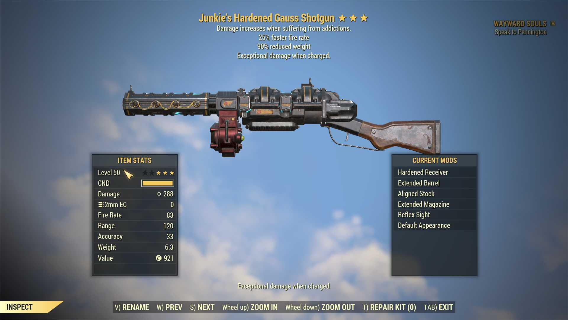 Junkie's Gauss Shotgun (25% faster fire rate, 90% reduced weight) FULL MODDED [Wastelanders]