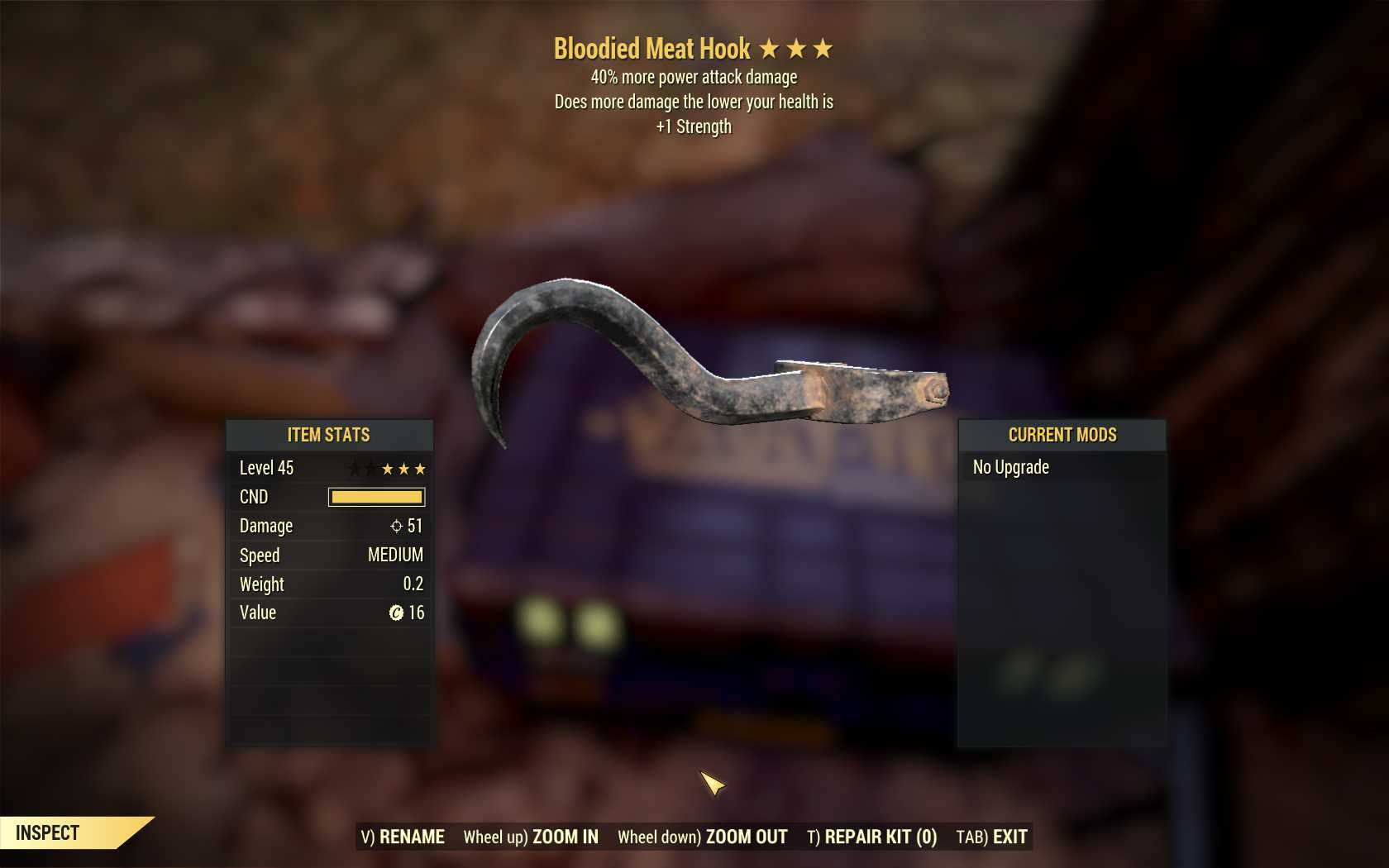 [3 Stars]Bloodied Meat Hook+40% power attack damage+ 1 Strength