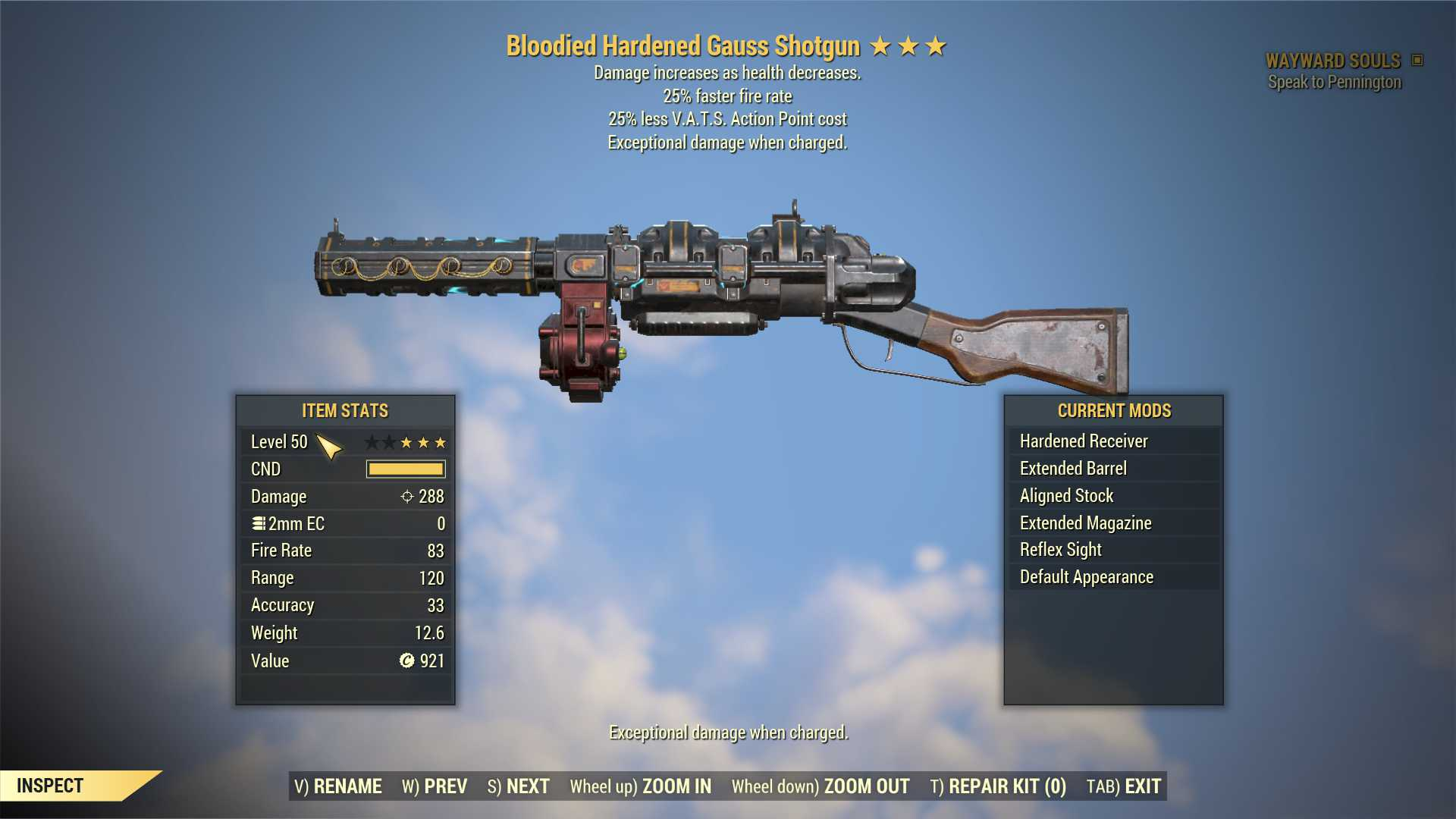 Bloodied Gauss Shotgun (25% faster fire rate, 25% less VATS AP cost) FULL MODDED [Wastelanders]